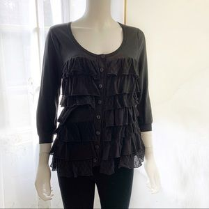 Anthropologie Sparrow Tiers of Ruffles Cardigan L